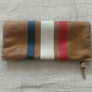 Clare V striped leather foldclutch